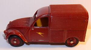 Dinky Toys Citroen 2cv Made In France Meccano Repeinte Rouge Fonce 1/43 Bel Etat