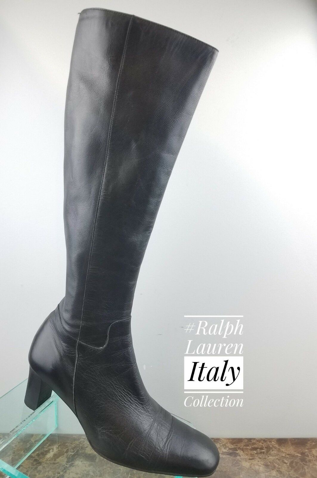 varie dimensioni Ralph Lauren  Collection Collection Collection Knee High nero Leather Zip Up stivali donna 7.5B  popolare