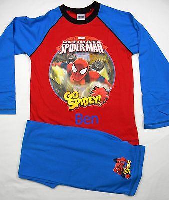 Personalised Go Spidey Spiderman red//blue pyjamas age 4-10 years with name