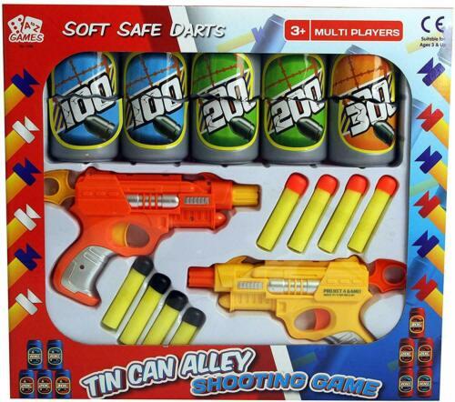 Kids Tin Can Alley Shooting Fléchettes Jeu avec pistolet Fléchettes Bidons Party Fun XMAX Ensemble Cadeau