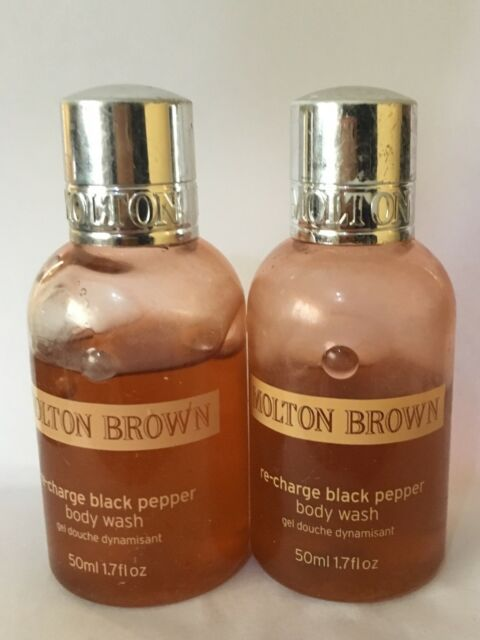 2x Molton Brown BLACK PEPPER BODY WASH GEL Travel size 30 ml & 27 ml