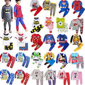 2pcs-enfant-dessin-anime-pyjama-tenues-Ensemble-garcon-DOUX-POUR-FILLES