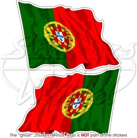 PORTUGAL Portuguese Flying Flag Iberian 120mm Vinyl Bumper Stickers Decals x2