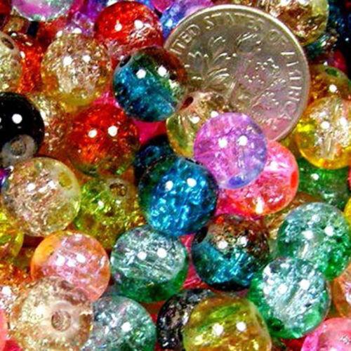 Women 50 pcs Mix 2-tone Crackle Round Beads Fit Bracelet /& Necklace Jewelry DSUK