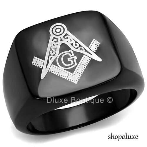 MEN'S BLACK STAINLESS STEEL MASONIC FREEMASON SQUARE & COMPASS RING SIZE 8-13