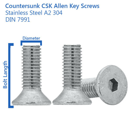 M4 x 16mm COUNTERSUNK ALLEN KEY BOLTS SOCKET SCREWS STAINLESS STEEL DIN 7991