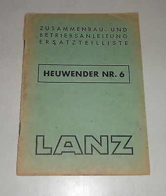 Farming & Agriculture Operating Instructions/parts Catalog Lanz Heuwender No 6-09/1949