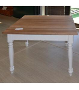 Tavolo Bianco Stile Provenzale.Tavolo Bianco Provenzale Shabby Chic 100x100 Quadrato Legno