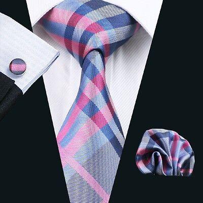 Classic Mens Tie Purple Blue Plaid Checks Silk Necktie Set Jacquard Woven C-467