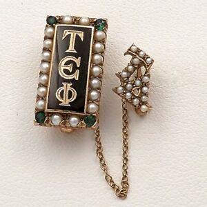 14K-Gold-Vintage-Tau-Epsilon-Phi-Enamel-Emerald-Seed-Pearl-Fraternity-Pin-6gr