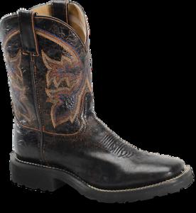 Para mujeres Cuero Super Lite Doble H Negro Puntera Cuadrada aclaramiento botas de vaquero