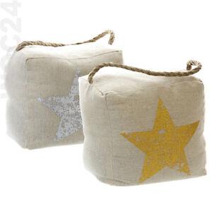 Tuerstopper-Tuersack-Tuerhalter-Tuerpuffer-Tuerbremse-Stern-Gold-Silber-Seil