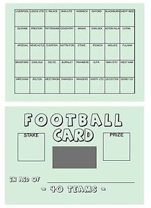 25 A6 Football Team Name Card - 40 Spaces - Fundraising tickets