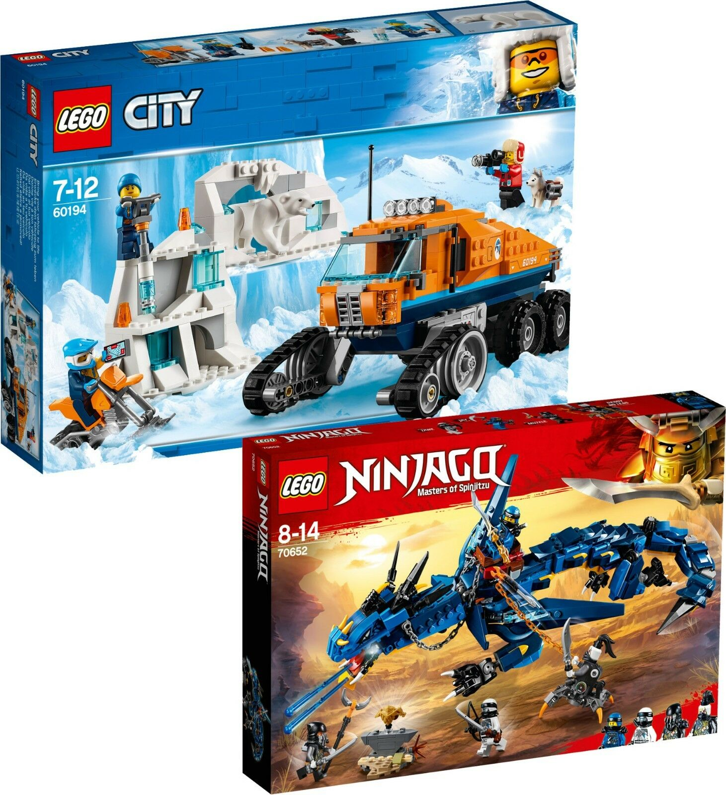 Boost upgrade LEGO City Arktis 60194 Erkundungstruck + Ninjago 70652 Blitzdrache