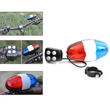 Bike Bicycle 4 Sounds Police Siren Trumpet Horn Bell 6 LED Rear Light