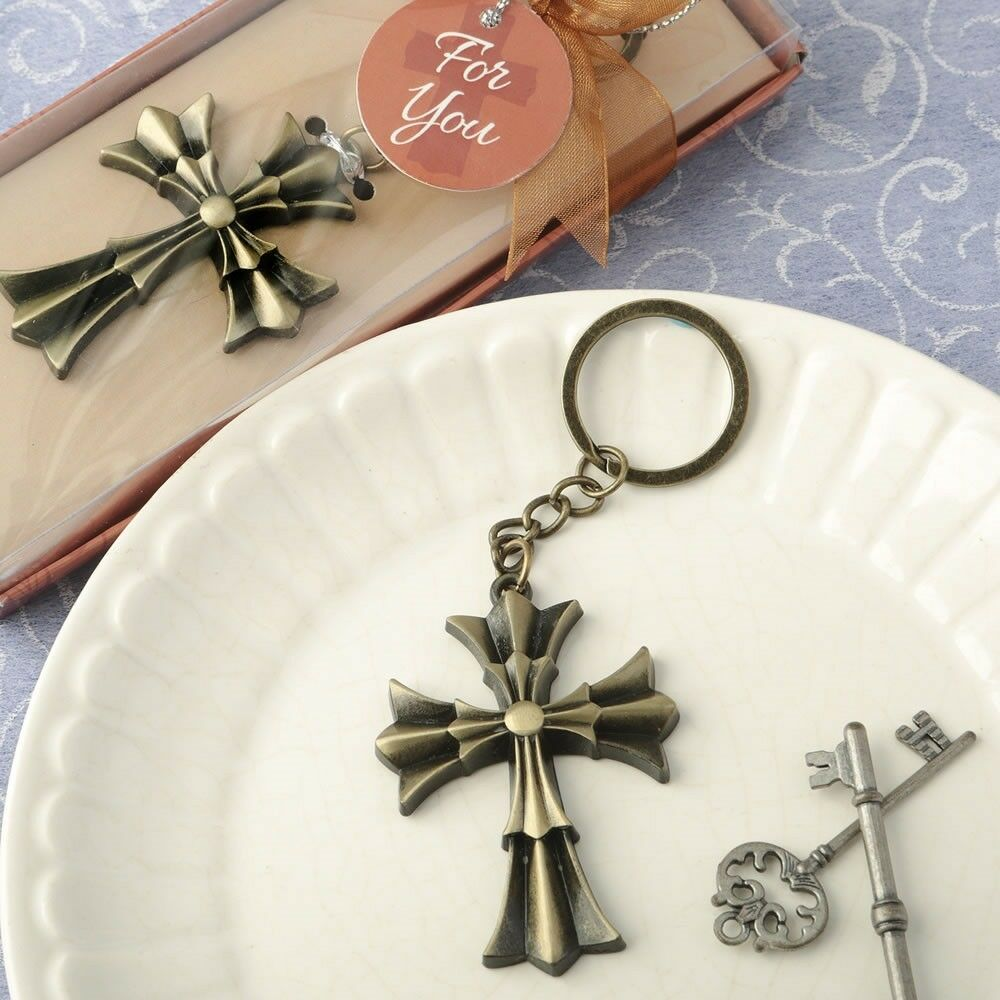 144 Flarot Cross Keychain Christening Baptism Baby Shower Religious Party Favors