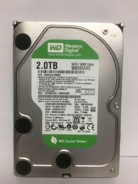 """Western Digital Caviar Green 3.5"""" 2TB 64M 3Gbps SATA Desktop Hard Drive WD20EARS"""