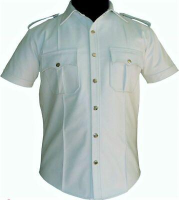 Hommes cuir véritable bleu police style militaire shirt BLUF Toutes Taille Chemise