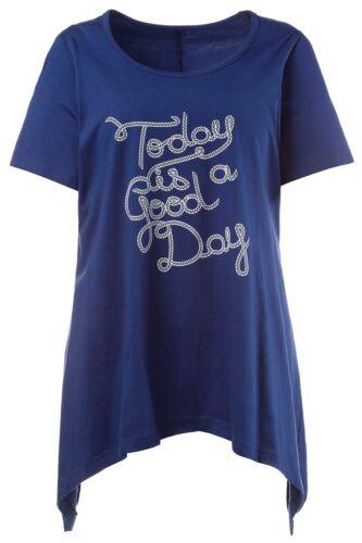 Gina Laura FASHION Pyjama-Shirt Today is a good day blau NEU