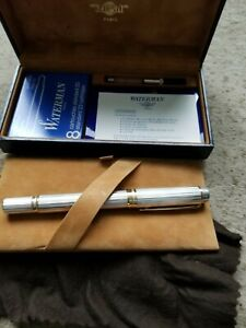 New-Waterman-Le-Man-100-Godron-Fountain-Pen-Solid-Sterling-Silver-New-in-Box
