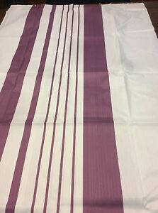 Purple (Eggplant) & White Striped Fabric Shower Curtain NEW