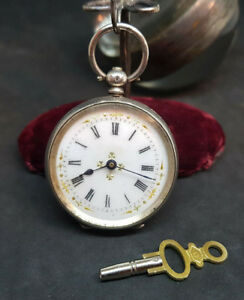 ANTIQUE-935-SOLID-SILVER-LEVER-FOB-POCKET-WATCH-LADIES-amp-KEY