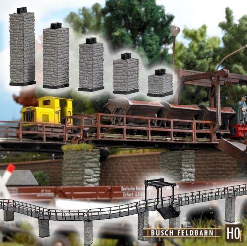 Busch 12387 Brückenpfeiler Auf-/Abfahrt (5 Stück), Spur H0f Feldbahn