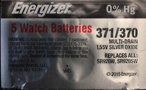 5-371/370- 5 Quantity Energizer Battery  SR920SW  SR920W V371-Authorize<wbr/>d seller.