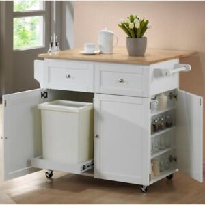 White Mobile Kitchen Storage Cabinet Cart With E Rack And Trash Compartment