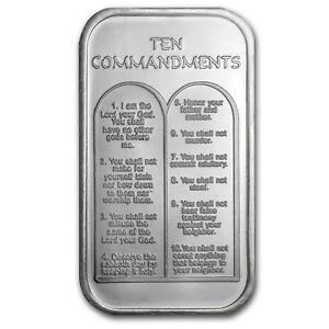 1 Oz Silver Bar Ten Commandments Hebrew Sku 64384