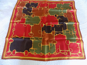"JONES NEW YORK 100% SILK SCARF 21"" square muted red *green * black * gold"