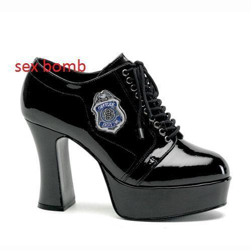 Sexy N. Scarpe Stringate Poliziotta Nere Plateau Tacco 10 cm N. Sexy 38 Party GLAMOUR ! 942927