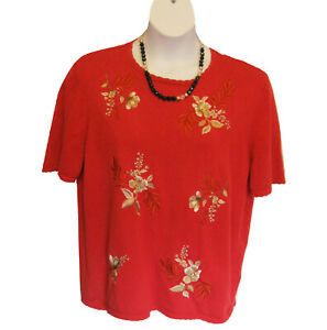Alfred Dunner Short Sleeve Sweater Size XL Embroidered Floral Tomato Red Casual