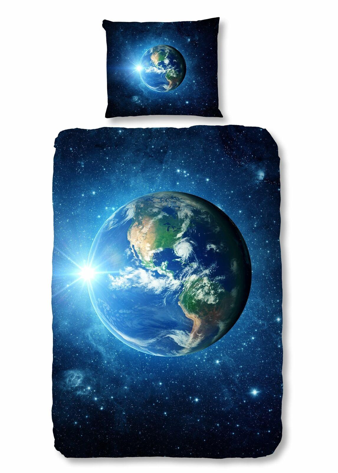 4 tlg Kinder Bettwäsche 135x200 cm Weltall Erde Stern weiß blau Baumwolle Set