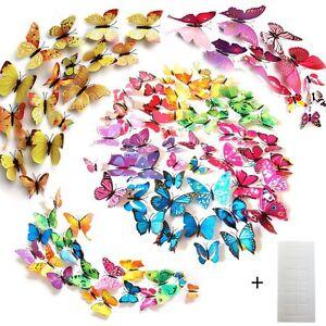 96 farfalle decorative colori assortiti farfalle 3d decorare le pareti di casa ebay - Farfalle decorative per pareti ...