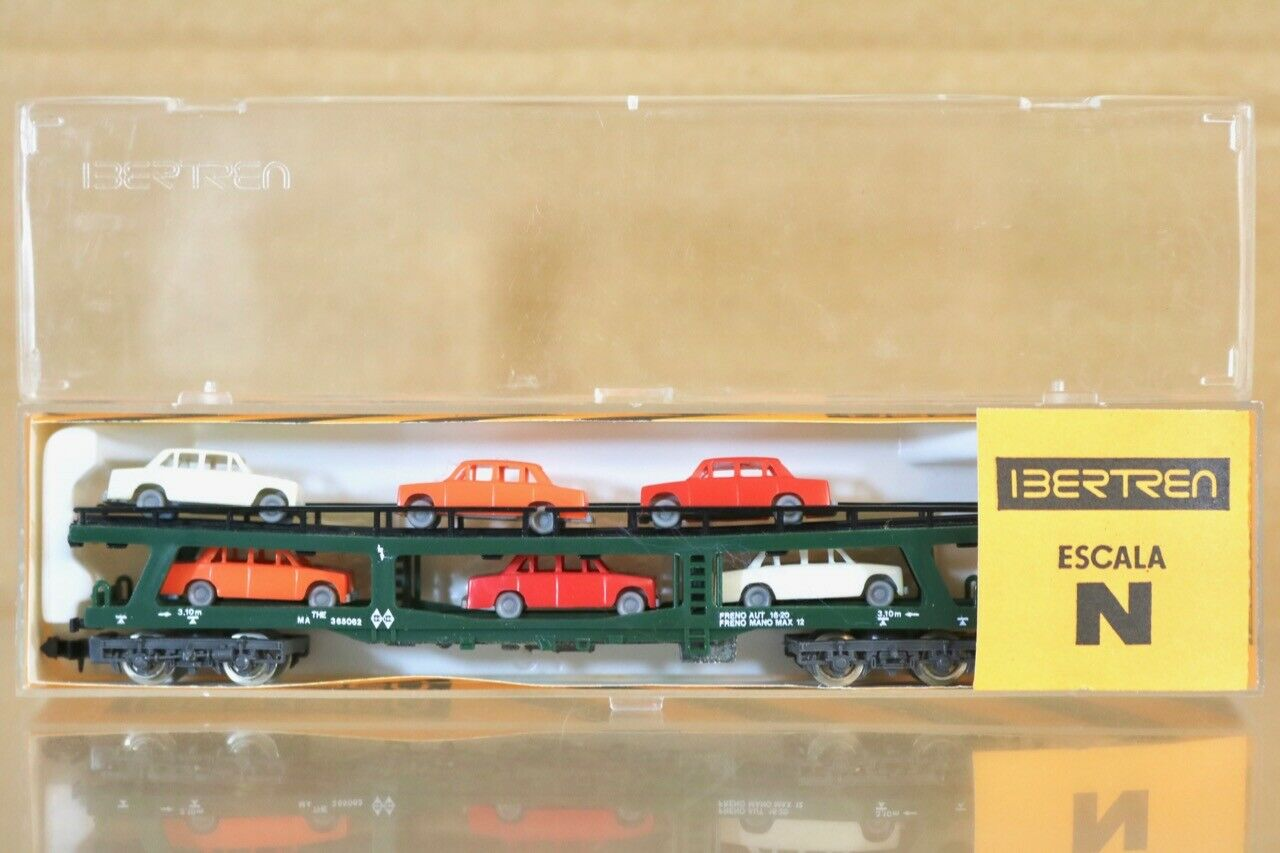 IBERTREN 454 N SCALE RENFE GREEN AUTO TRANSPORTER WAGON MINT BOXED nr