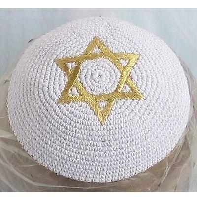 Crochet Kippah Jewish Yarmulke Kippa Knitted Kipa Star Of David White & Gold New