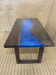 LIVE EDGE BLACK WALNUT RIVER TABLE COFFEE TABLE BLUE HAND ...