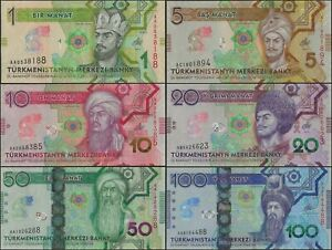 TURKMENISTAN 1 MANAT - 100 MANAT , 6 NOTE SET 2020 COMMEMORATIVE @ EBS