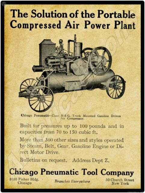 Truck Mounted Air Compressor 1913 Chicago Pneumatic Tool Company New Metal Sign