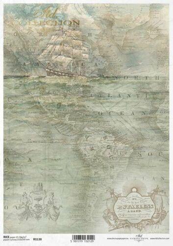 Reispapier-Motiv Strohseide-Decoupage-Vintage-Landkarte-R1138