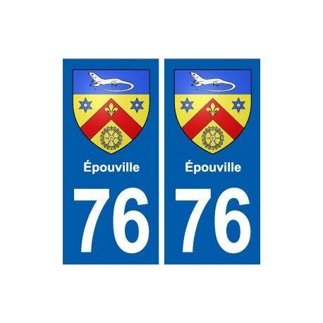 76 Épouville blason autocollant plaque stickers ville -  Angles : droits