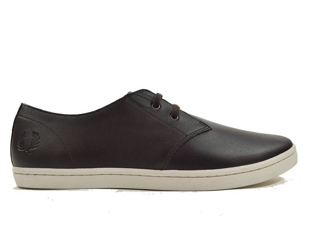 Fred Perry Byron Low Tumbled Leather Men's Trainers shoes B1133-325 Dark Brown