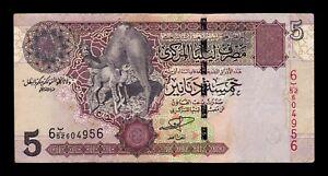 B-D-M-Libia-Libya-5-Dinars-2004-Pick-69a-BC-MBC-F-VF