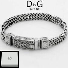 """DG Men's 8.5"""" Silver Black Stainless Steel 12mm Franco Chain Bracelet Unisex.box"""
