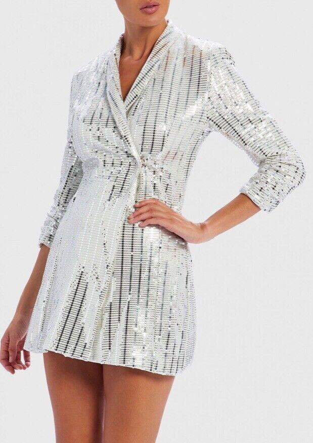 Nouveau Forever Unique Weiß et Silber Métallisé Miroir Sequin Blazer Robe XL UK 14