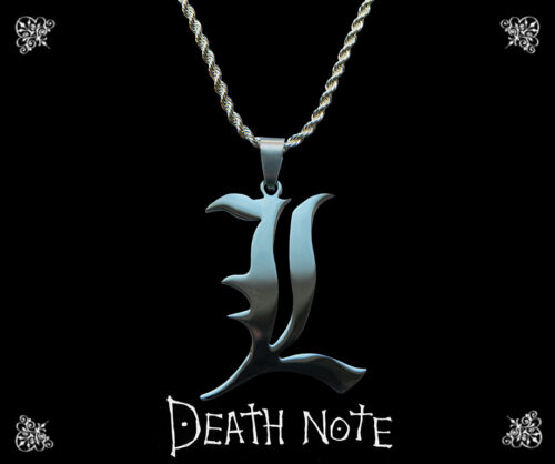 Death Note sterling silver faux leather necklace with L charm