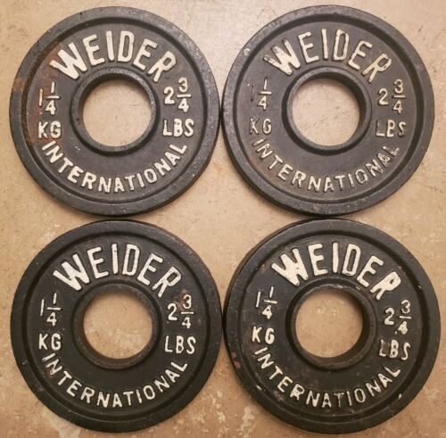 Weider International Four 1.25kg 2.75lb Olympic plates Weights vintage