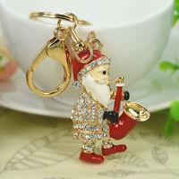 Sax Claus Santa Keyring Rhinestone Crystal Pendant Bag Key Chain Christmas Gift