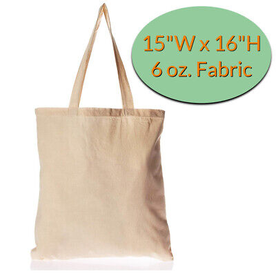 Canvas Tote Bags Whole 12 Pack Plain Cotton In Bulk Blank 696396971446 Ebay